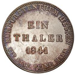 Hesse-Cassel (German States), taler, 1841, Wilhelm II.