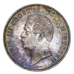 Hesse-Darmstadt (German States), 2 gulden, 1853, Ludwig III.