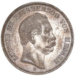 Hesse-Darmstadt (German States), 5 mark, 1876-H, Ludwig III, NGC AU 53.