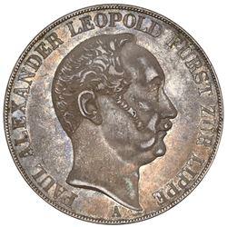 Lippe-Detmold (German States), 2 taler, 1843-A, Paul Alexander Leopold, rare, NGC AU 58.