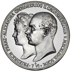 Mecklenburg-Schwerin (German States), proof 5 mark, 1904-A, Friedrich Franz IV, marriage of the Gran