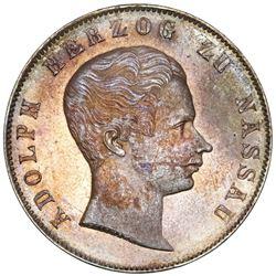 Nassau (German States), 2 gulden, 1847, Adolph, NGC MS 62, ex-Gibbs.