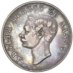 Nassau (German States), 2 taler, 1860, Adolph, reverse legend closer to rim variety.
