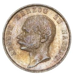 Nassau (German States), taler, 1863, Adolph, NGC MS 65.