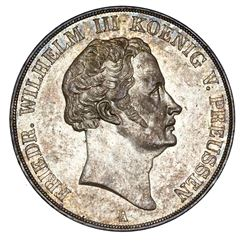 Prussia (German States), 2 taler, 1839-A, Friedrich Wilhelm III, NGC AU 58.