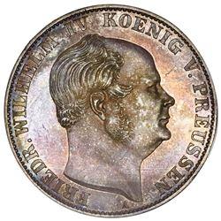 Prussia (German States), proof mining taler, 1858-A, Friedrich Wilhelm IV, NGC PF 62.