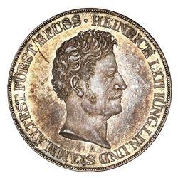 Reuss-Schleiz (German States), 2 taler, 1853-A, Heinrich LXII, NGC AU details / obverse scratched.