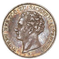 Saxe-Altenburg (German States), 2 taler, 1842-G, Joseph, rare, NGC XF details / scratches.