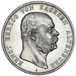 Saxe-Altenburg (German States), 5 mark, 1901-A, Ernst I, commemorating the duke's 75th birthday, rar