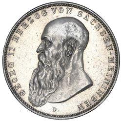 Saxe-Meiningen (German States), 5 mark, 1902-D, George II, long beard variety, NGC UNC details / obv