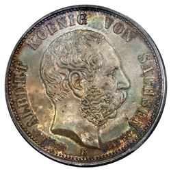 Saxony (German States), 3 mark, Georg, 1902-E, commemorating the death of King Albert, PCGS MS66.