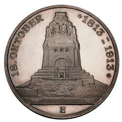 Saxony (German States), proof 3 mark, Friedrich August III, 1913-E, centennial of the Battle of Leip