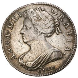 London, England, shilling, Anne, 1702, with VIGO below bust, NGC AU details / harshly cleaned, ex-Jo