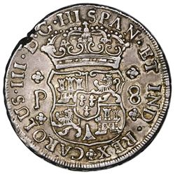 Guatemala, pillar 8 reales, Charles III, 1762P.