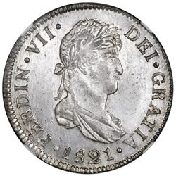 Guatemala, bust 2 reales, Ferdinand VII, 1821M, NGC MS 65, finest known in NGC census.