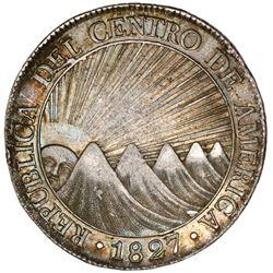 Guatemala (Central American Republic), 8 reales, 1827M, PCGS AU53.