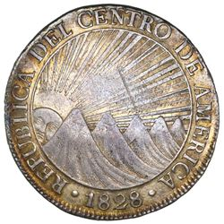 Guatemala (Central American Republic), 8 reales, 1828M, NGC AU 53.