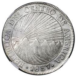 Guatemala (Central American Republic), 8 reales, 1837BA, NGC AU 55.