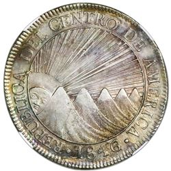 Guatemala (Central American Republic), 8 reales, 1846/2AE/MA, CREZCA/CRESCA variety, NGC AU 58.