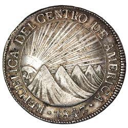 Guatemala (Central American Republic), 8 reales, 1847/6A, NGC AU 50, ex-Jones.