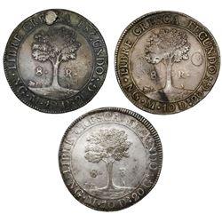 Lot of three Guatemala (Central American Republic) 8 reales: 1824M, 1825M, 1826M.
