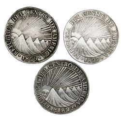 Lot of three Guatemala (Central American Republic) 8 reales: 1827M and 1829 (two).