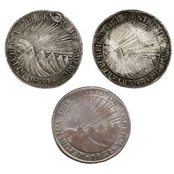 Lot of three Guatemala (Central American Republic) 8 reales: 1831M, 1834M, 1835M.