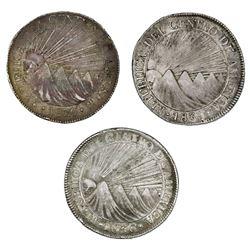 Lot of three Guatemala (Central American Republic) 8 reales: 1835M, 1836M, 1836BA.