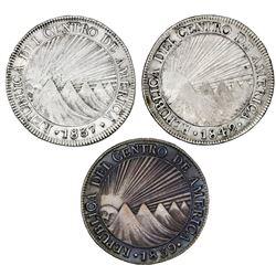 Lot of three Guatemala (Central American Republic) 8 reales: 1837BA, 1839MA, 1842MA.