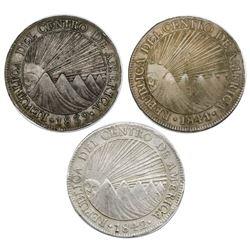 Lot of three Guatemala (Central American Republic) 8 reales: 1839MA, 1841MA, 1842/37M/BA.