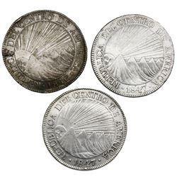 Lot of three Guatemala (Central American Republic) 8 reales: 1846/2AE/MA CREZCA/CRESCA, 1847/6A, 184