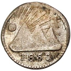 Guatemala (Central American Republic), 1/4 real, 1851, rare, PCGS XF40.