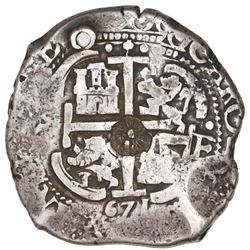 Guatemala, 8 reales, sun-over-mountains countermark (Type II, 1839) on cross side of a Potosi, Boliv