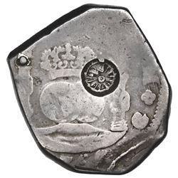 Guatemala, 8 reales, sun-over-mountains countermark (Type II, 1839) on pillars side of a Guatemala c