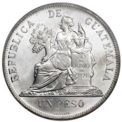 "Guatemala, 1 peso, 1895, PCGS MS67, ""top pop,"" ex-Law."