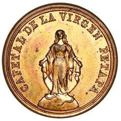 Petapa, Guatemala, bronze token, 1867, Cafetal de la Virgen.
