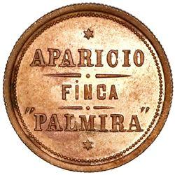 "Quetzaltenango (?), Guatemala, copper 2 reales token, ca. 1870, Finca ""Palmira"" of Juan Aparicio, ra"