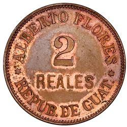 Quetzaltenango, Guatemala, copper token, 1886, Alberto Flores / Guadalupe La Ceiba / Costa Cuca.