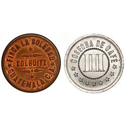 Lot of two Guatemalan tokens of Finca la Soledad (Cosecha de Cafe), Xolhuitz (Quetzaltenango), late
