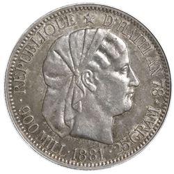 Haiti, 1 gourde, 1881, PCGS AU55.