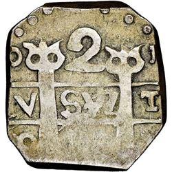 "Tegucigalpa, Honduras, provisional ""imitation cob"" 2 reales, (1823)-PMPY, ""owl face"" tops of pillars"