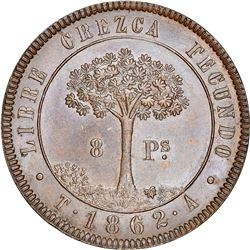 Tegucigalpa, State of Honduras (struck in London, England), provisional 8 pesos, 1862T-A, NGC MS 64