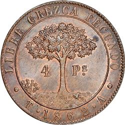 Tegucigalpa, State of Honduras (struck in London, England), provisional 4 pesos, 1862T-A, NGC MS 64
