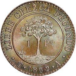 Tegucigalpa, State of Honduras (struck in London, England), provisional 1 peso, 1862T-A, NGC MS 66 B