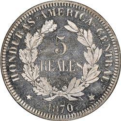 Honduras (struck at the Paris mint), copper-nickel proof 5 reales pattern, 1870-TASSET, President Me