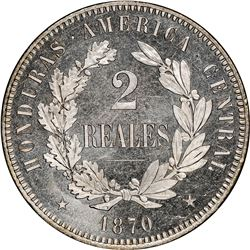 Honduras (struck at the Paris mint), copper-nickel proof 2 reales pattern, 1870-TASSET, President Me