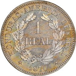 Honduras (struck at the Paris mint), copper-nickel proof 1 real pattern, 1870-TASSET, President Medi