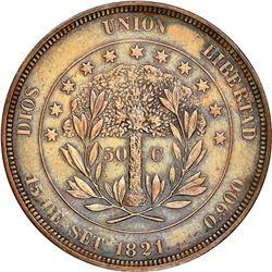 Honduras (struck at the Philadelphia mint), copper proof 50 centavos pattern, 1871, plain edge, NGC