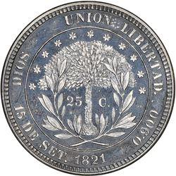 Honduras (struck at the Philadelphia mint), silver proof 25 centavos pattern, 1871, plain edge, rare