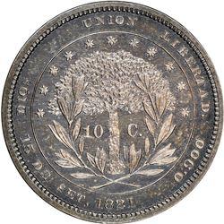 Honduras (struck at the Philadelphia mint), silver proof 10 centavos pattern, 1871, plain edge, rare